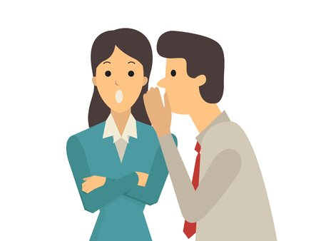 rumor: Businessman whispers to his colleague in office about gossip, rumor, or secrets. Illustration