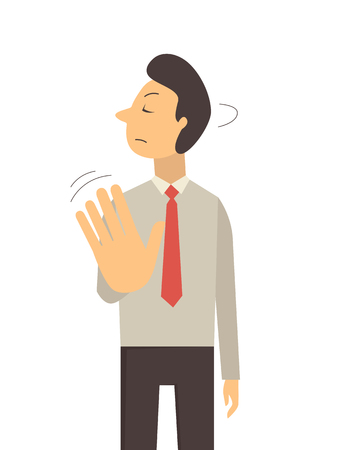 Business man wave hand making no sign or stop sign, business concept in saying no, stop, or disagreement. Vettoriali