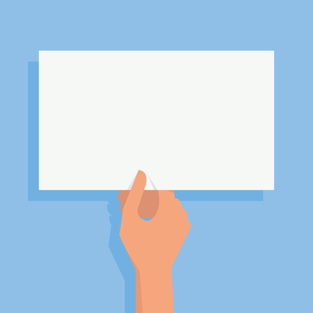 hand holding paper: Womans hand holding blank white paper for your text or  copy space or your design, flat design with shadow. Illustration