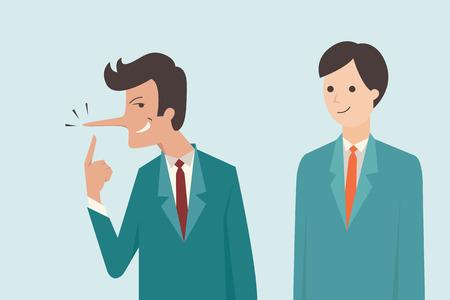 Lügner Geschäftsmann, der lange Nase mit seinem Betrug Gesichtsausdruck hat.