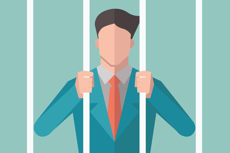 imprisonment: Avatar of businessman holding bars in prison, behind bars, or in jail.