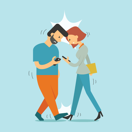 using smartphone: Two people bend down their head, keep using smartphone until they walking attacking each other accidentally.