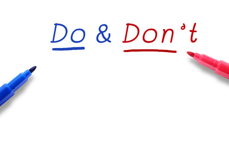 dont: Color pen marker, blue and red, with word Do & Dont and black space for your text or design. Stock Photo