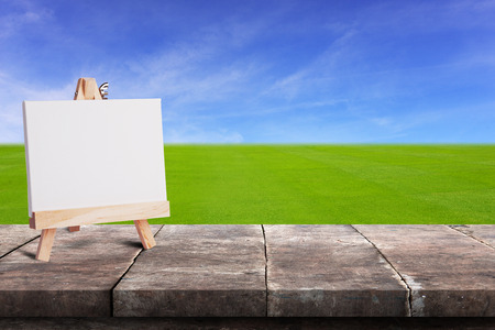 wood grass: Blank canvas on grunge wood table or floor panel, in front of green grass field with blue sky background.