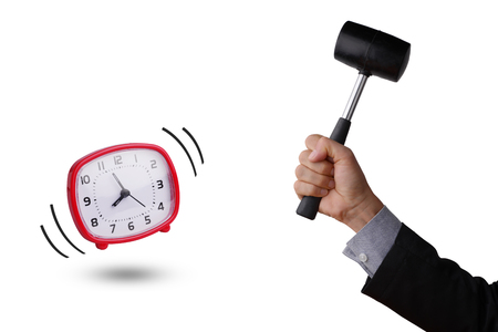 Businessman hand holding hammer, to break the red clock, in business concept of breaking time. White background.