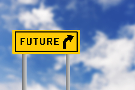 blur effect: Illustration of yellow road sign plate with text FUTURE and arrow, on blur effect of natural blue sky background. Business concept in future ahead.