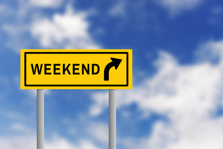 blur effect: Illustration of yellow road sign plate with text WEEKEND and arrow, on blur effect of natural blue sky background. Business concept in weekend ahead.