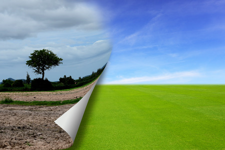Abstract background on dry field land to being development to be green grass field land, represent to fold paper page.