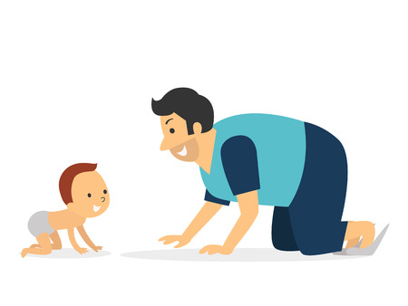Side view of father and baby crawling, enjoy together.