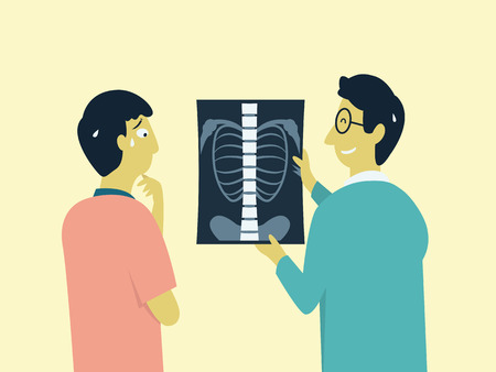 anxious: Worried and anxious patient look at x-ray result from MRI scan, present by medical doctor. Cartoon character, vector illustration. Illustration