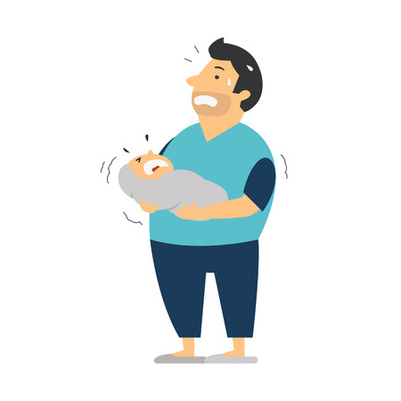 Stress and anxiety in new father who holding crying baby in hands, he look worried and have no idea what to do. Cartoon character, full length body.