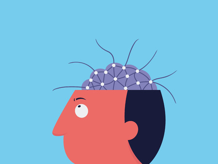 Man worried and confused with his brain complexity, abstract illustration in complexity thinking in man head.