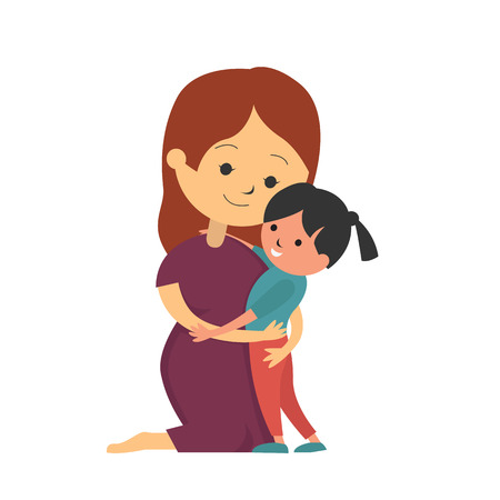 arrodillarse: Mother kneel down and hugging her daughter, vector illustration concept of mothers day or I love Mom.