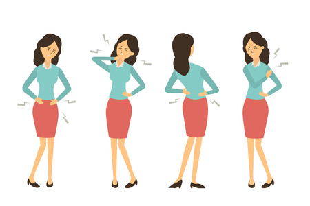 Character set of businesswoman at workplace get pain in various problem, back pain, abdominal problem, neck pain, and hurt at shoulder from working.