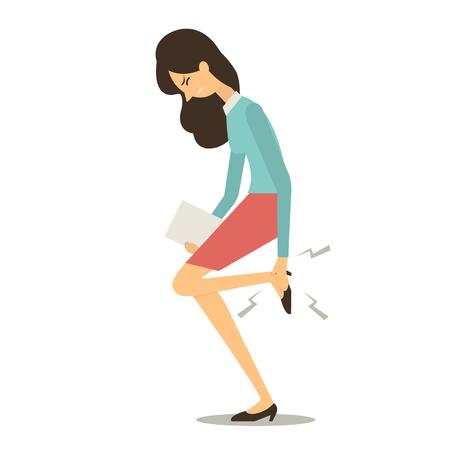 Mulher de negócios que se sentir magoado e tocando seus pés após sore seu pé. Ilustração