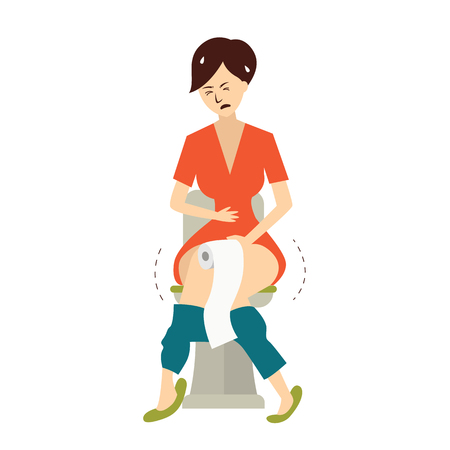 Woman have problem with hemorrhoids in toilet. Vector illustration character design. Stock Illustratie