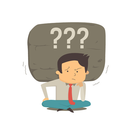 depress: Businessman sit on ground with very worried expression, and huge stone heavy on his shoulder, metaphor to carry heavy problem with question mark symbol. Illustration