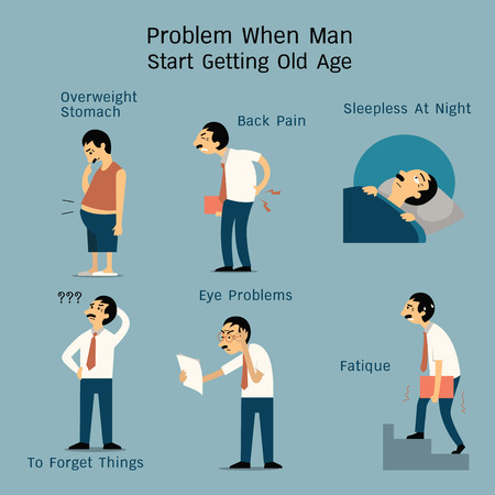 Vector illustration set of man at old age start getting problem from various pain or physical problems. Character design in flat style.