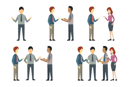 full length portrait: Full length of business man, woman, and people have conversation or talking, greeting, meeting. Vector illustration character set, flat design.