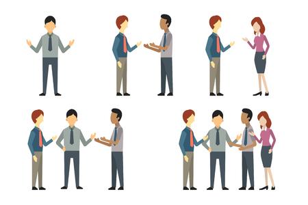 Integral de hombre de negocios, mujer, y la gente tiene conversación o hablar, saludo, reunión. Vector conjunto de carácter ilustrativo, diseño plano.