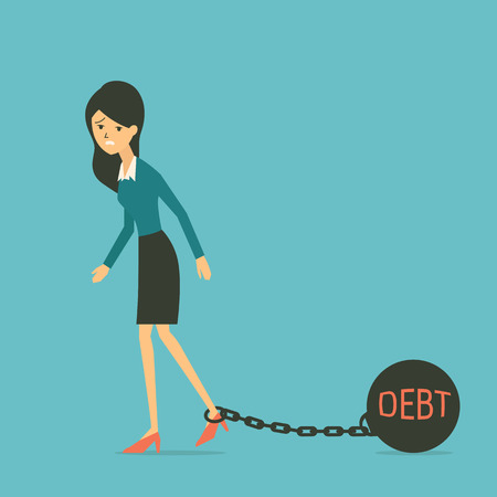 stress ball: Business woman walking with ball and chain iron at her toe with text DEBT, in business concept of having debt. Illustration