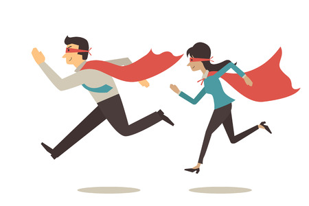 strong men: Vector character of superhero couple concept, superhero businessman and businesswoman, running forward together.  Flat design and simple design.