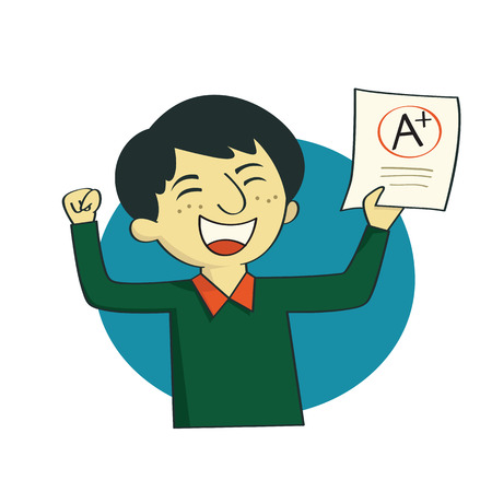 Vector illustration cartoon character of boy or young student showing examination result A plus grade on paper, with cheerful and happy expression. Illustration