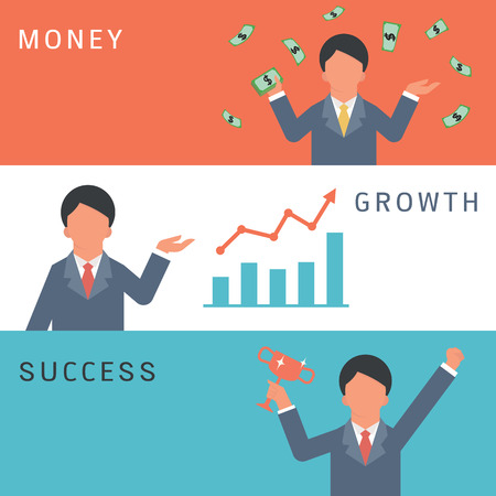Set of business man character holding money in wealthy concept, presenting rising graph in growing business, and holding trophy in winning. Flat design with simple design. Illustration