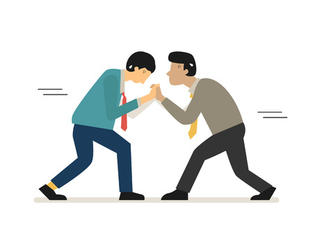 Character of businessman pushing against rivalry or each other, business concept of rivalry, competitive, fighting, rivalry. Flat design, side view.