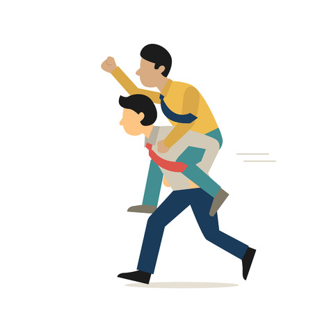 piggyback ride: Businessman run forward with piggyback ride on his partner back, cartoon character flat design, isolated on white. Illustration