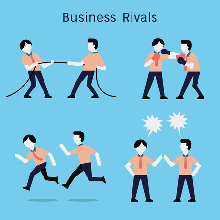 rivals: Vector character set of businessman in rivals business concept, tug of war competition, fighting with boxing gloves, running racing, and argumen converstion. Simple and flat design. Illustration