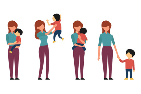 Vector character set of mother and her kid, playing, hugging, rising child in the air, and walking together. Flat and simple design, full length.