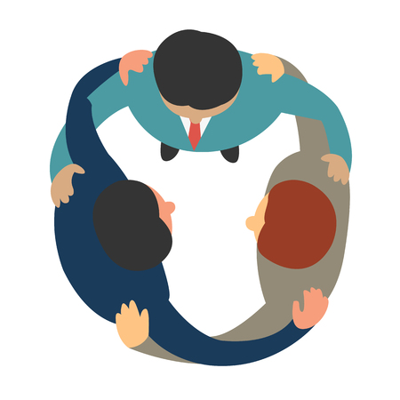 join: Businesspeople join and hold hands and shoulders, business concept of teamwork, corporation, unity, company, friends, or togetherness. Top view, flat design, multi-ethnic and diverse.