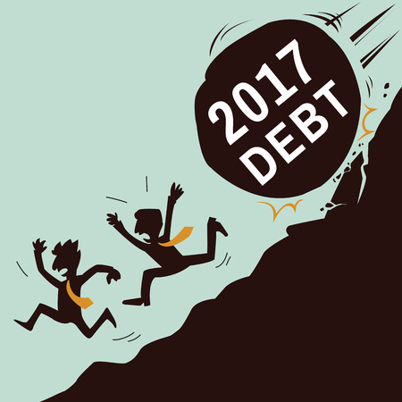 unstable: Two businessman running away to avoid rock rolling from mountain with text, 2017 debt, business concept in bankruptcy, risk, unstable, or financial crisis in year 2017 coming. Funny vector illustration, simple style character.