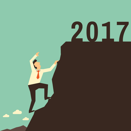 going: Businessman climbing high on mountain to the top of mountain with year 2017. Business concept in going forward to happy new year. Vector illustration flat design. Illustration