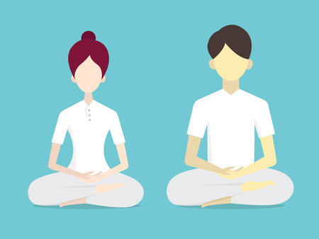 white clothes: Vector illustration avatar character of Buddhist man and woman, sitting and doing meditation, in traditional white plain clothes. Simple style, flat design.