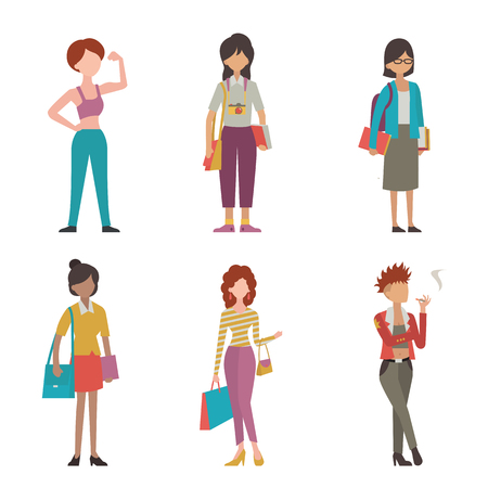 full length woman: Various character of woman in different lifestyle and activity, sport, hipster or traveller, student, working woman, fashionable, shopping, and punk girl. Multi-ethnic, flat design, simple style, full length.