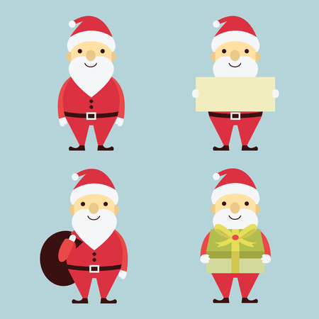 Vector cute character set of Christmas, x-mas, Santa Claus in various activities. Flat design, simple style. Illustration