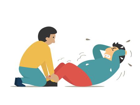 Grasso o l'obesità uomo che cerca di fare sit-up in modo molto difficile con l'aiuto di allenatore personel. Vector illustration personaggio concetto di fitness. Design piatto con stile semplice. Archivio Fotografico - 69245421