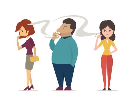 Kobieta lub nie palący starają się zasłonić twarz dymem papierosowym, od człowieka palącego. Wektorowa konstrukcja znaku w pojęciu biernego palenia, palenia wtórnego i zanieczyszczenia. Ilustracje wektorowe