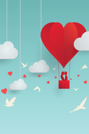lovers kissing: Vector illustration, romantic scene of Valentines day concept, paper style with shadow, couple lovers kissing on balloon, cloud and sky background, in heart shape and bird flying.