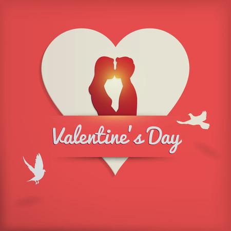 innamorati che si baciano: Illustrazione di vettore, scena romantica del giorno concetto di fondo di San Valentino, carta stile con l'ombra, gli amanti della coppia che si bacia a forma di cuore e uccello in volo.