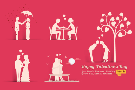 lovers kissing: Vector illustration set of Valentines day concept in style of paper with shadow, abstract background of love, lovers, couple, dinner, romance, wedding, kissing, heart shape. Vettoriali