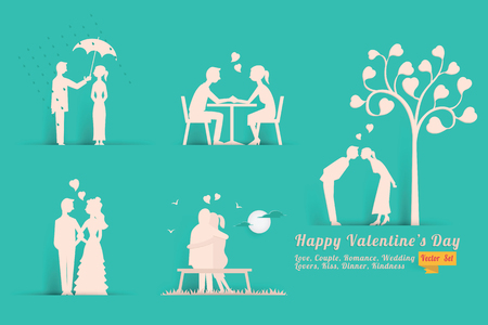 dinner date: Vector illustration set of Valentines day concept in style of paper with shadow, abstract background of love, lovers, couple, dinner, romance, wedding, kissing, heart shape. Illustration