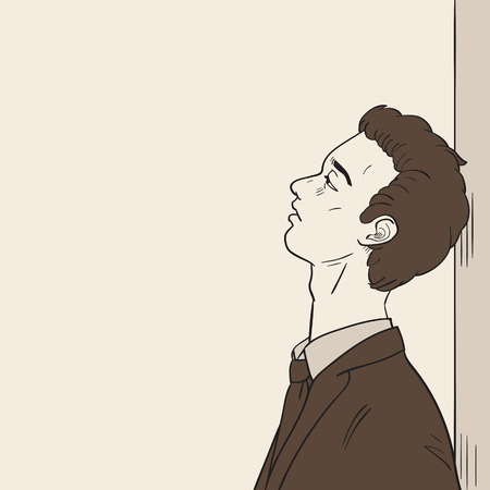 lonely person: Young businessman lean against the wall, looking endless in blank space and feeling very downcast or downhearted. Vector illustration, ink sketching style. Illustration