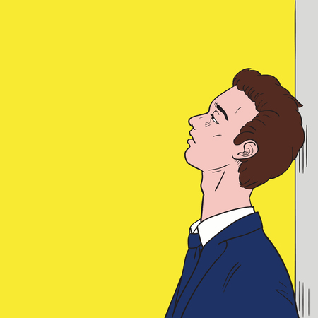 downhearted: Young businessman lean against the wall, looking endless in blank space and feeling very downcast or downhearted. Vector illustration, ink sketching and pop art color style.