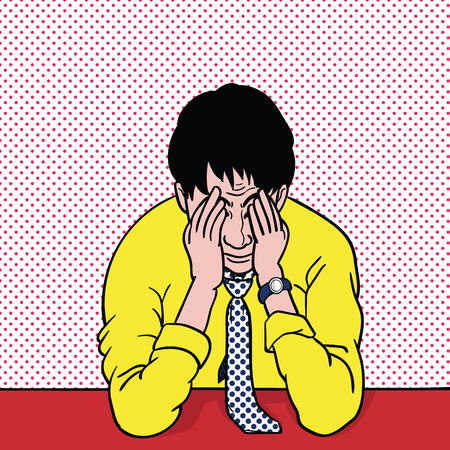 Pop art illustration, retro style of stressed businessman, cover his face with hands representing to despair, stressed, failed, frustrated, anger, serious, sad, unhappy, failure.