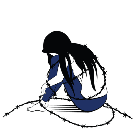 jailed: Vector illustration drawing in ink sketching style, lonely woman, sad and depression, sitting alone surround with barbed wired, presenting to woman being jailed or caged.