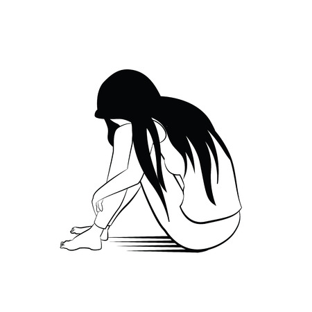 Vector illustration drawing in ink sketching style, lonely woman, sad and depression, sitting alone.