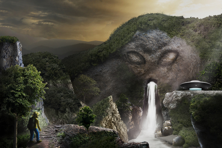 Digital art painting in style of fantasy imagination, sci-fi story tale, about secrety alien basement in tomb with UFO in deep mountain, found by an adventure.  Archivio Fotografico